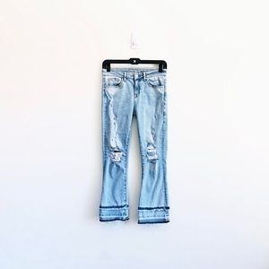 Zara Double Hem Cropped Distressed Jeans